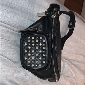 Leather pearl embellished fanny pack